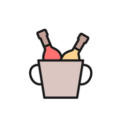 bucket two champagne bottles flat color line vector image