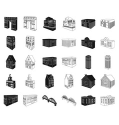 building and architecture blackoutline icons in vector image