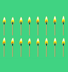 Burning match animation sprite on green background vector