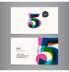 business card with number 5 vector image