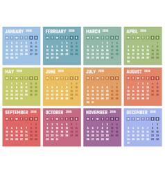 calendar for 2018 starts monday calendar vector image