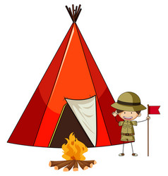 Camping tent with doodle kids cartoon character vector