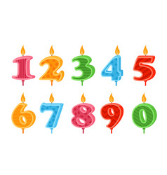 candles numbers colorful flat vector image