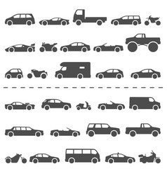 Car and motorcycle type icons set title models vector