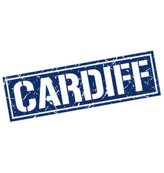 Cardiff blue square stamp vector