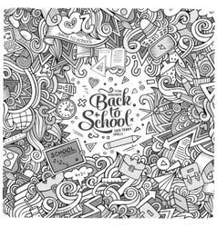 Cartoon cute doodles hand drawn school frame vector