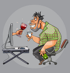 cartoon man drinking with a virtual woman sitting vector image
