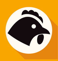 chicken icon on white circle with a long shadow vector image