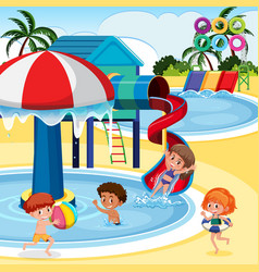 Children playing at water park vector