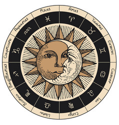 Circle zodiac signs with sun and moon vector