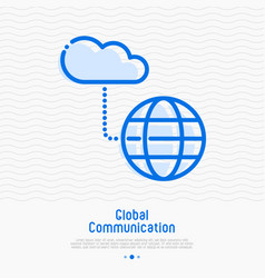 Cloud computing technology thin line icon vector