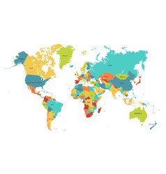 Colored world map political maps colourful world vector