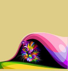 Colorful cute little cat hiding in the blanket vector