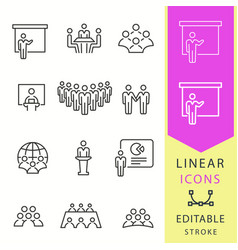conference icons set black vector image