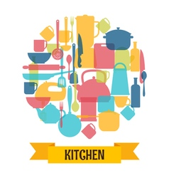 Cooking utensils background Kitchen and restaurant vector