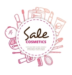 Cosmetics and beauty accessories design concept in vector image