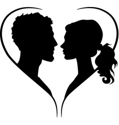 Couple silhouette in heart shape vector