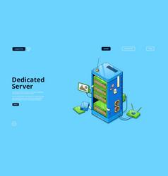 dedicated server isometric landing data storage vector image