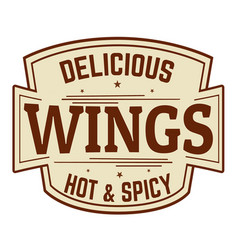 Delicious wings label or icon vector