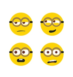 Different cute faces isolated on white vector image