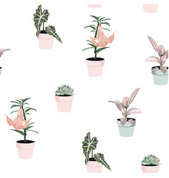 different green plants in pots seamless pattern vector image