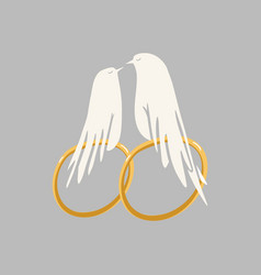 doves couple with wedding rings vector image