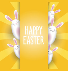 easter background with cute bunnies vector image
