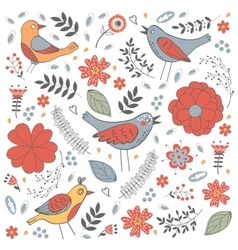 Elegant pattern with flowers and birds vector image