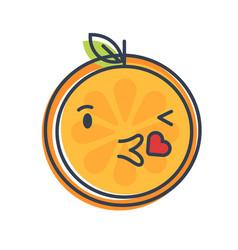 emoji - kiss orange smile isolated vector image