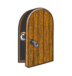 Eye peeps out door sketch vector