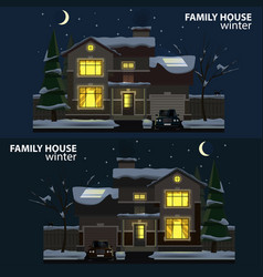 Family house at night winter 2 houses car and vector