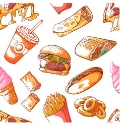 fast food hand drawn seamless pattern vector image