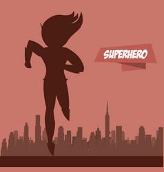fast woman superhero on city silhouette vector image