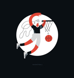 Female basketball flat hand drawn vector