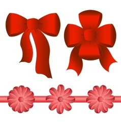 five bright red bows different shapes vector image