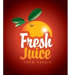 Fresh juice with picture orange vector