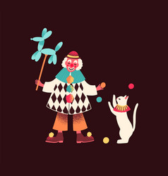 Funny circus clown holding balloon and performing vector