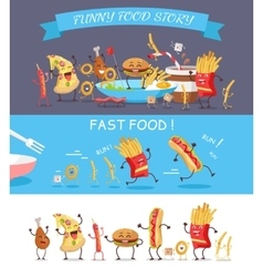 Funny Fast Food Cartoon vector image