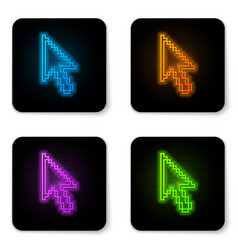 glowing neon pixel arrow cursor icon isolated on vector image