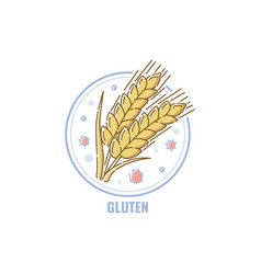 gluten food label round badge with wheat grain vector image