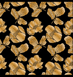 Golden blooming peonies and leaves vector