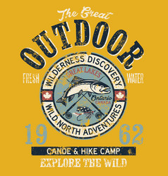 great canada outdoor fishing adventure badge vector image