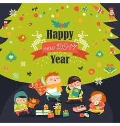 Group of children and christmas tree vector image