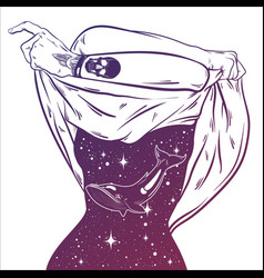 Hand drawn surreal undressing woman with space vector