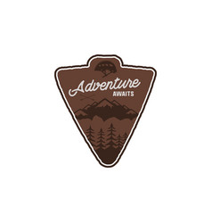 hand drawn vintage camping badge and hiking label vector image