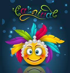 happy carnival festive lettering smile emoji with vector image