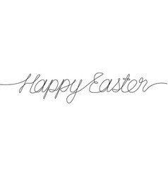 happy easter one line inscription continuous line vector image