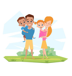 happy white family smiling in nature parents vector image