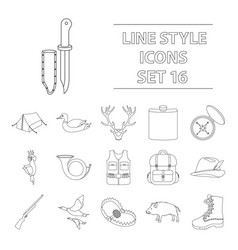 hunting set icons in outline style big collection vector image