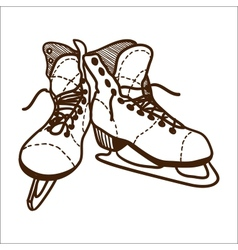 Ice skates isolated on white vector